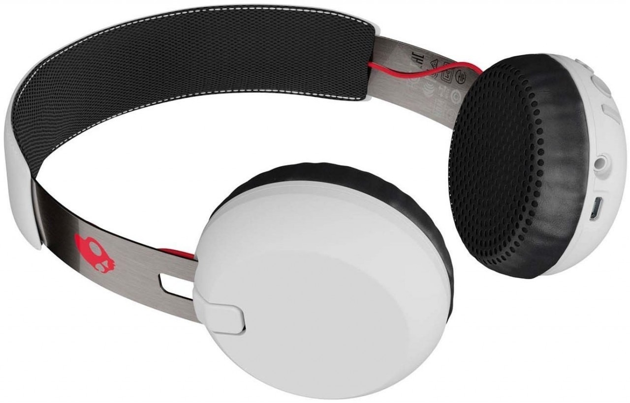 Skullcandy Grind Bluetooth Wireless On Ear Headphones with Mic - White, Black & Red