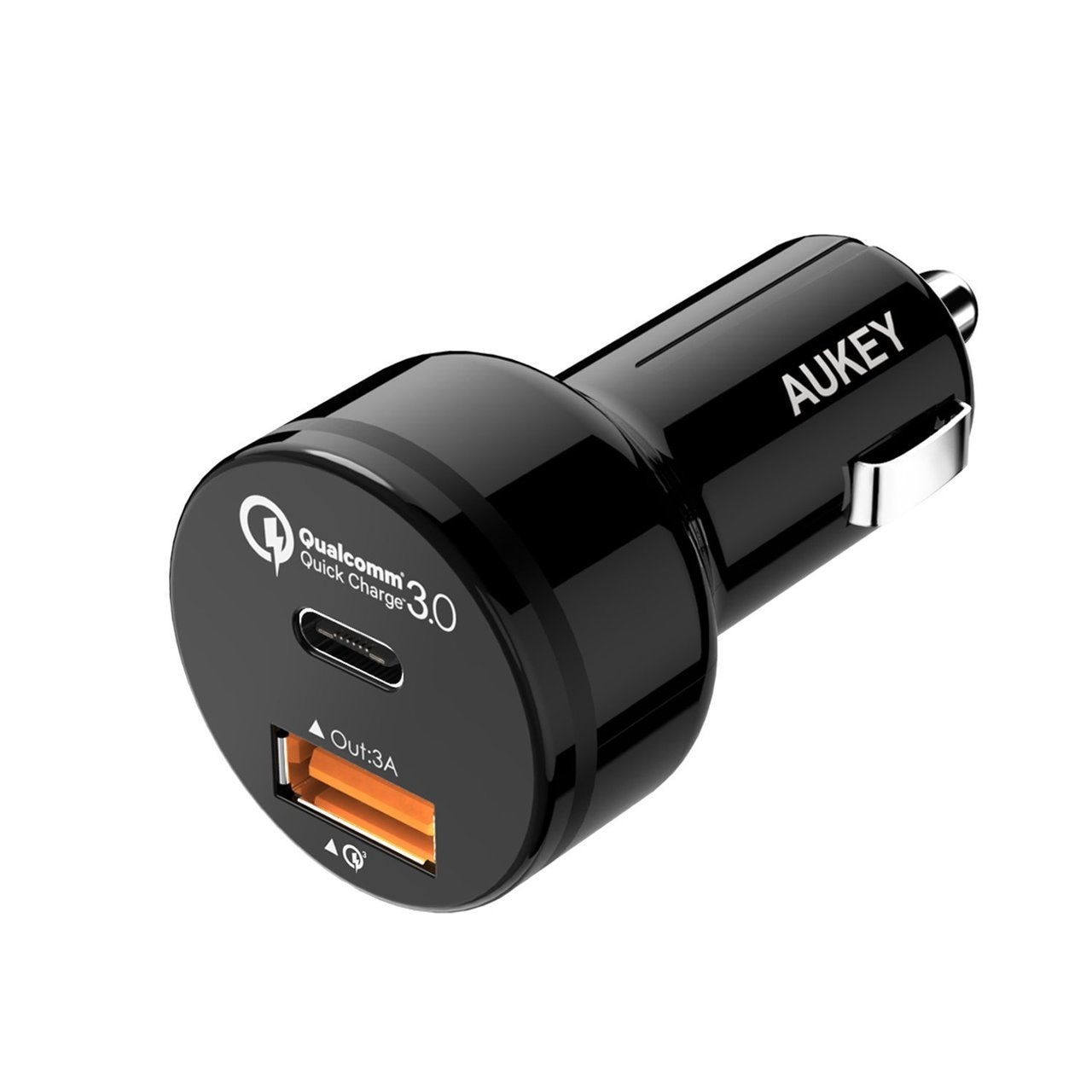 AUKEY 2-Port 33W Turbo USB-C Car Charger with QC 3.0 - Black - CC-Y1