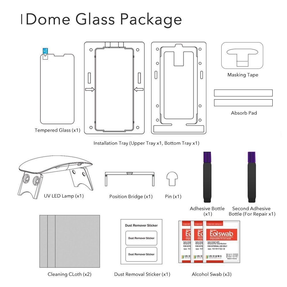 Galaxy S9 Whitestone Dome Glass with UV Light & Easy Install Kit