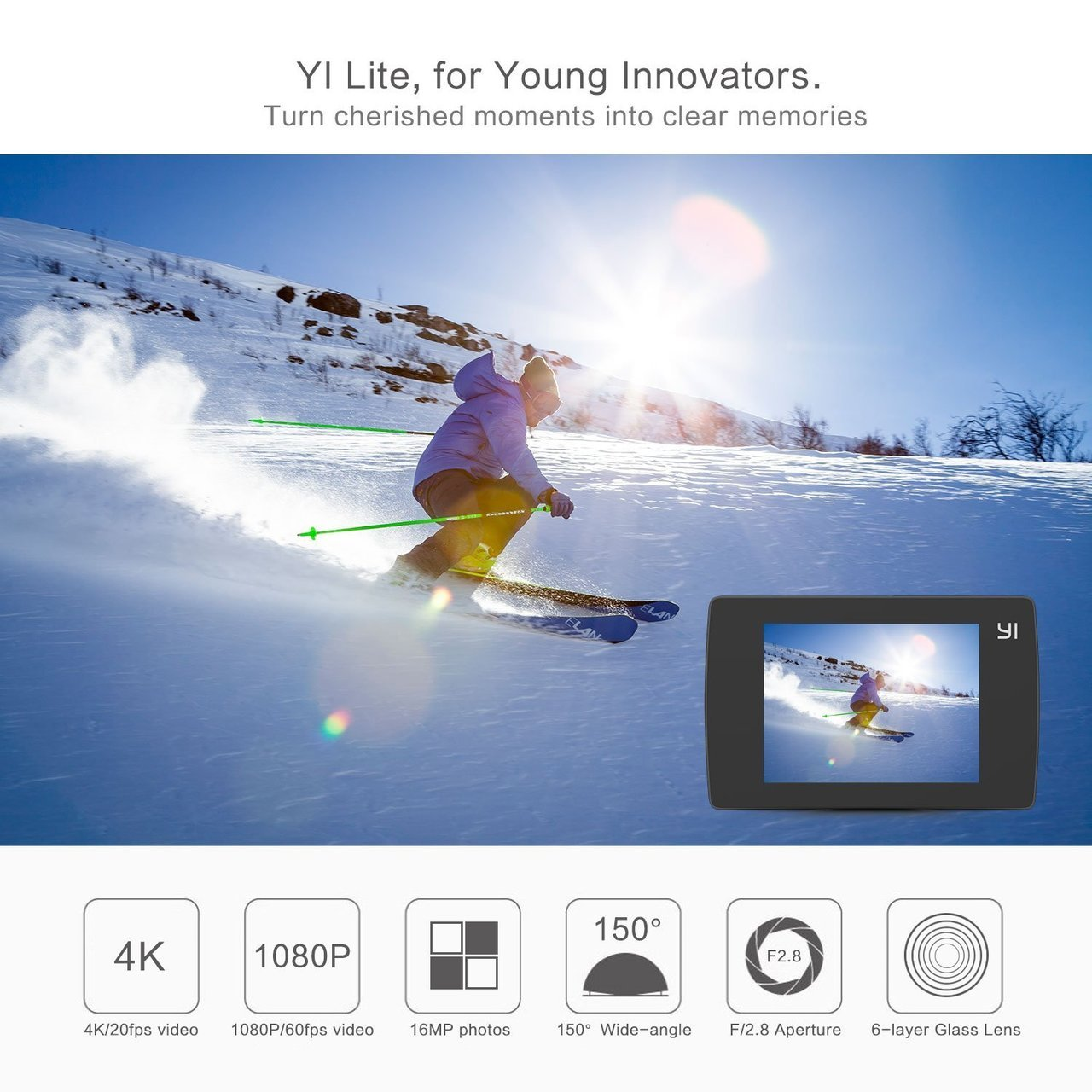 Yi Lite Action Camera with Waterproof Case Included - Black