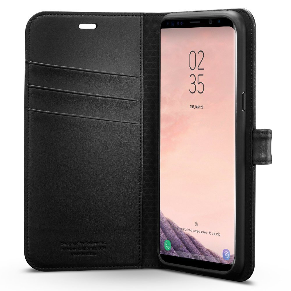 Samsung Galaxy S8 Spigen Wallet S Flip Cover Case - Matte Black