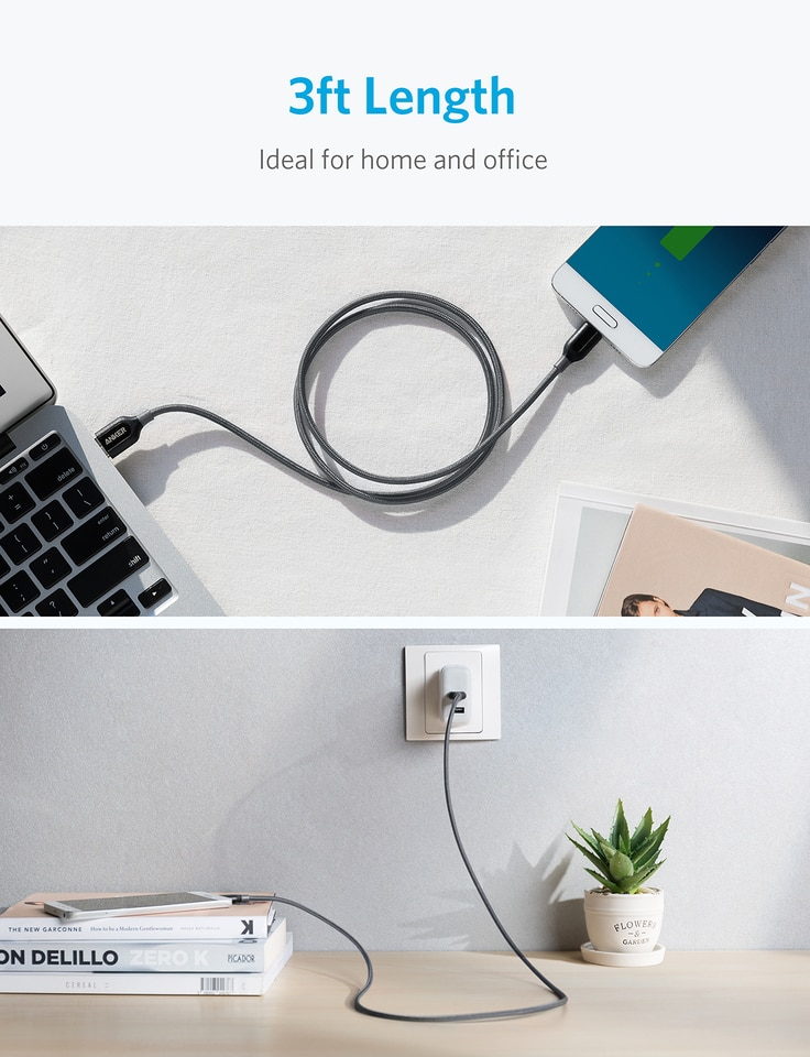 Anker PowerLine + USB-C to USB-A 3.0 3FT - Gray ( A8168HA1 )