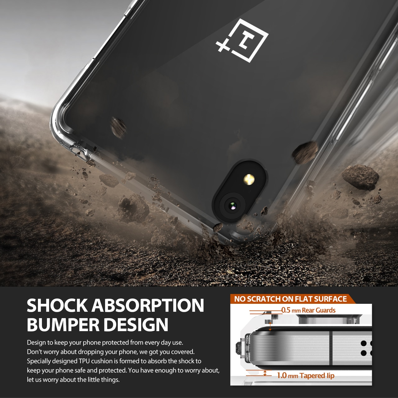 OnePlus X Ringke Hybrid Drop Protection Fusion Case - Crystal Clear