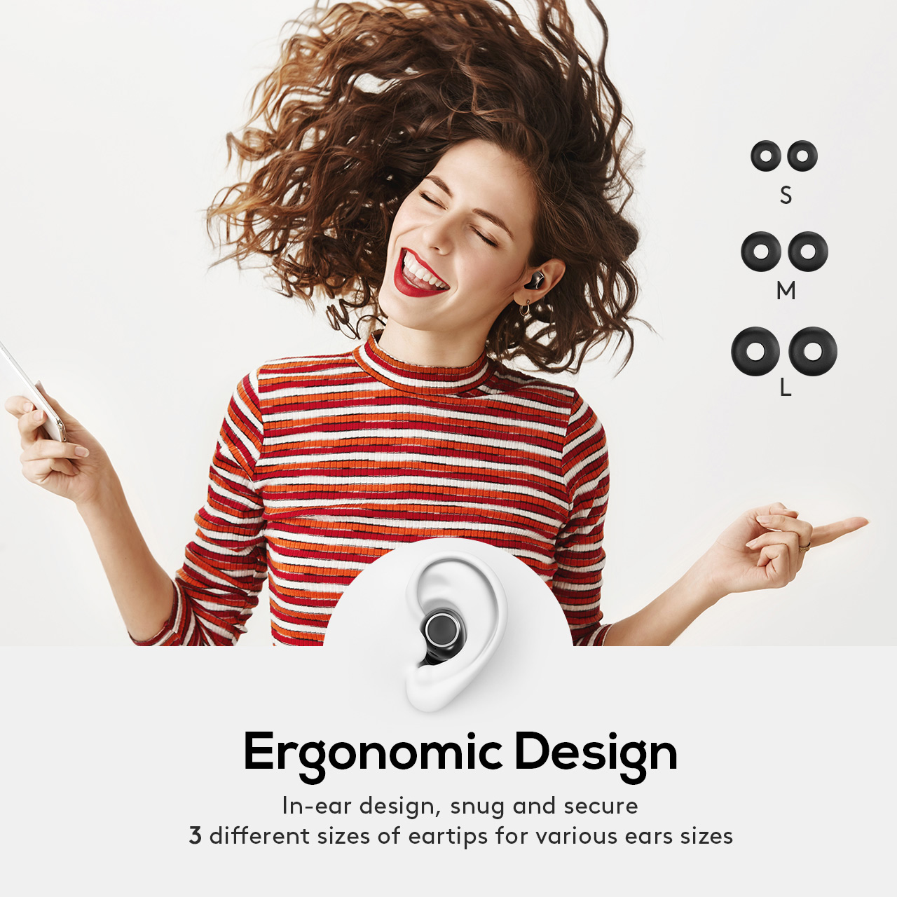 t6 true wireless earbuds ergonomic design
